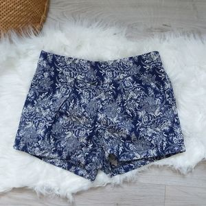 Floral upholstery fabric OASAP blue shorts